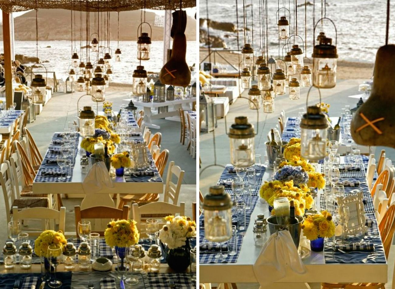 brazilian wedding mykonos-blue and yellow wedding decoration 18