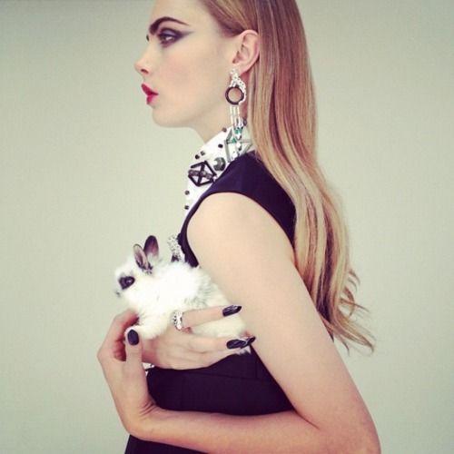 nick knight-cara delevigne-couture bunny