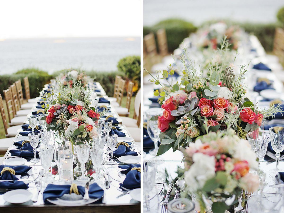 vintage_nautical_wedding_athens_blue_gold_coral_dinner_area_dinnerware_cutlery_deplanv